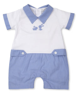 Baby Bunny Pique with Blue Gingham Short Romper