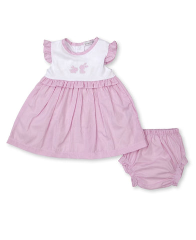 Pique Baby Bunny Pink Gingham Ruffle Dress Set