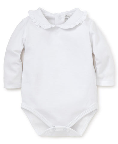 Pima Cotton Ruffle Collar Bodysuit