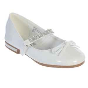 Girls Communion Shoes White with Rhinestone Strap