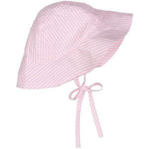 Pink Seersucker Sun Hat with Strap