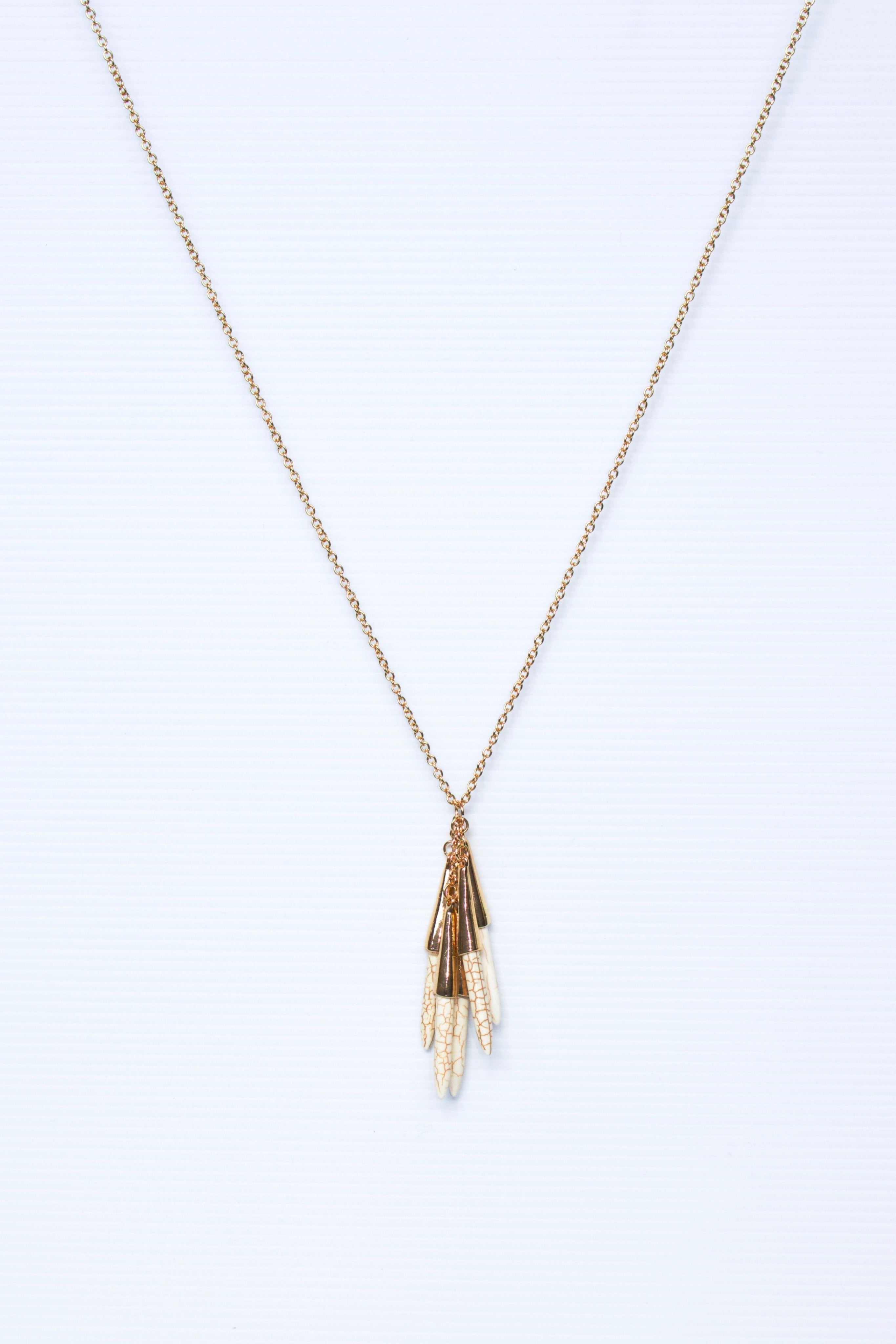 LONG GOLD CHAIN NECKLACE WITH HOWLITE STONES - TALONS NECKLACE