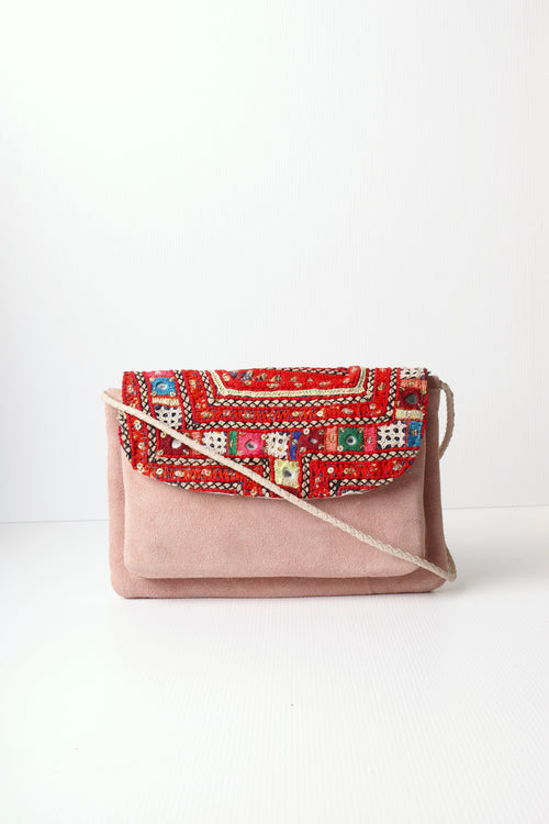 CASABLANCA BAG- EMBROIDERED FRONT FLAP LEATHER BAG WITH PINK SUEDE BODY