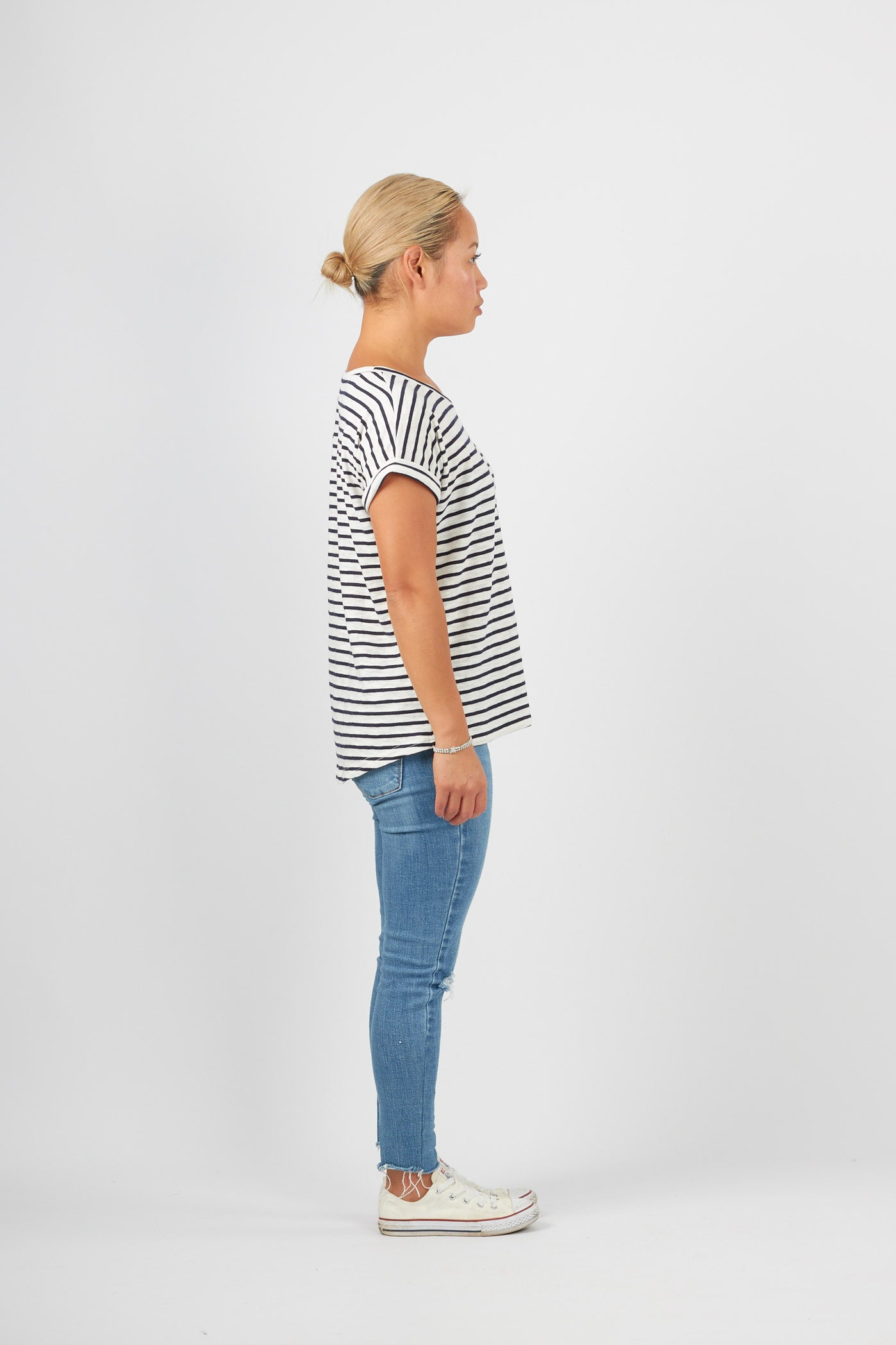 Striped navy and white cotton crew neck tee shirt