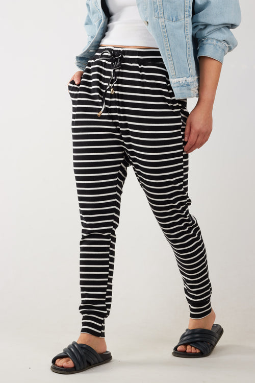 JAMAICA PANTS- BLK/WHT STR