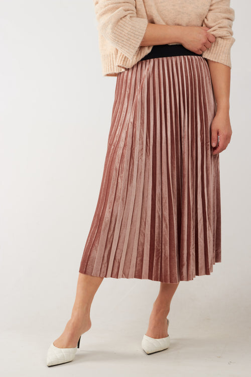 Dusty pink velvet pleated midi skirt with contrast black elasticised waistband. Also available in deep green.