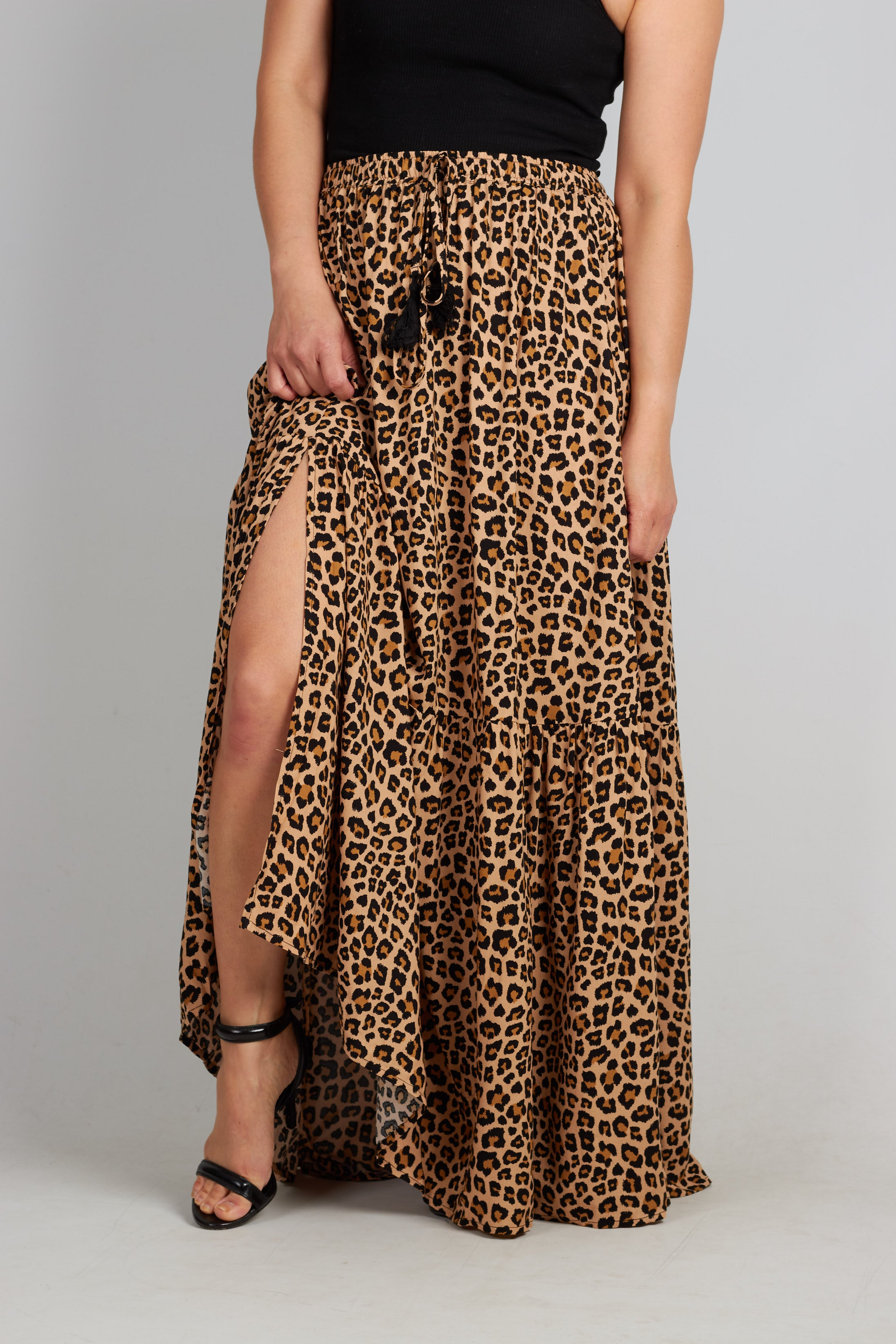 Leopard print maxi skirt with drawstring elasticised waistband and side slits