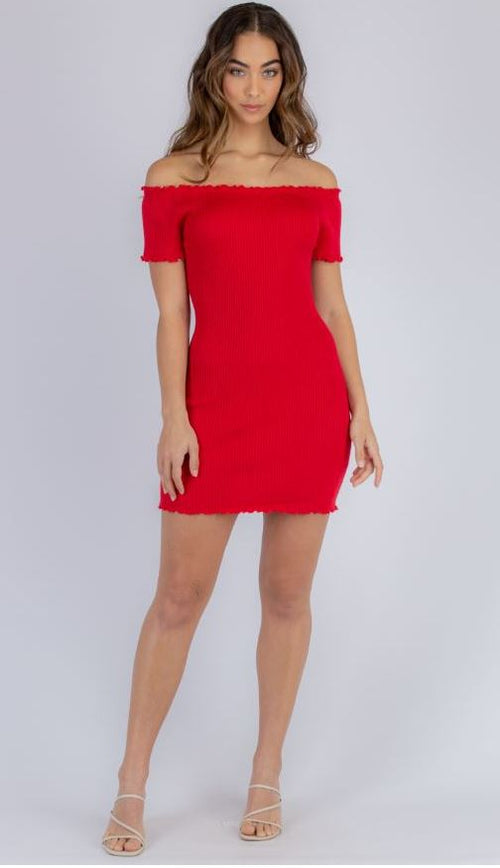 Red off the shoulder ribbed knit mini dress with lettuce edge neckline, short sleeve cuffs and hem.