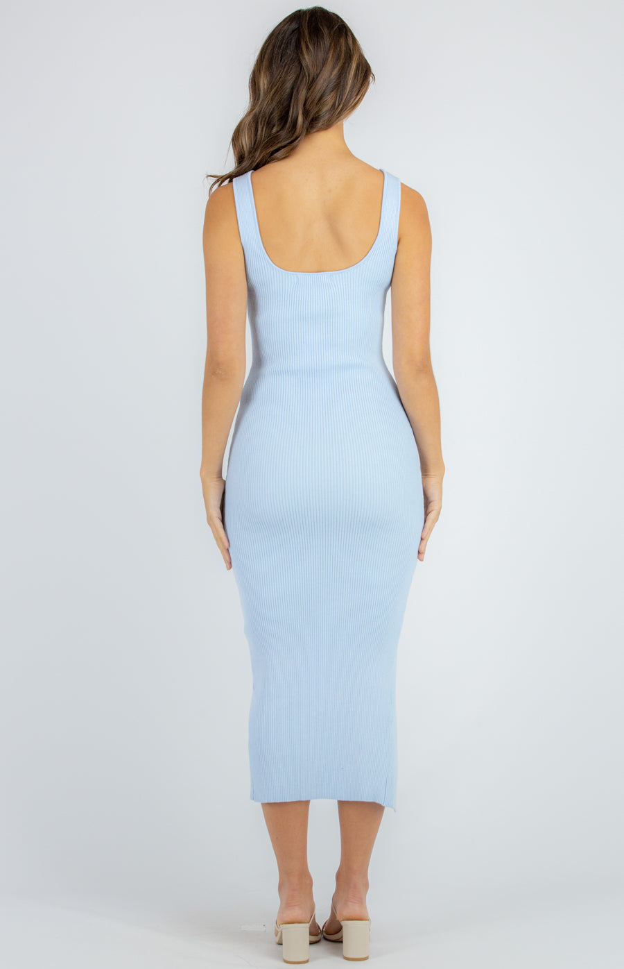 Baby blue sleeveless ribbed knit midi dress with square neckline and front leg split.