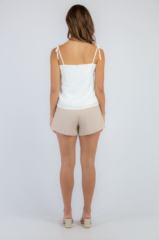 Square neck white cami with extra thin shoulder tie straps.
