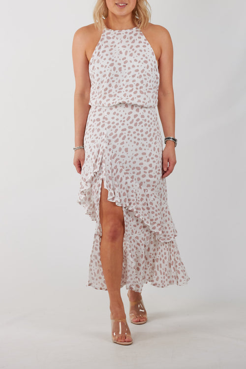 MARG DRESS- WHT/PINK