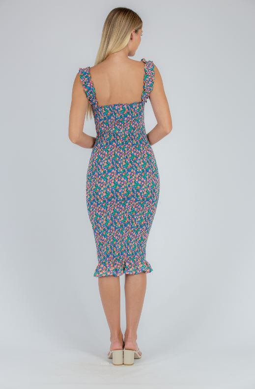 Shirred midi dress in pretty blue/pink/green floral print with elasticised shoulder straps.