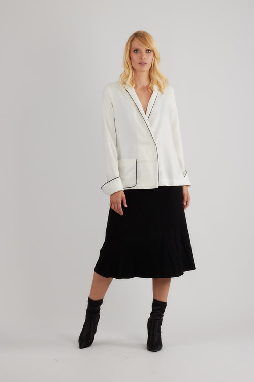 White double breasted satin blazer with black piping