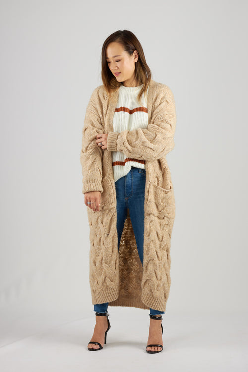 Beige maxi length cable knit cardigan