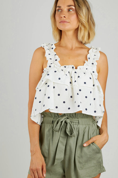 White ruffled cropped top with black polka dots and ruffled thick straps