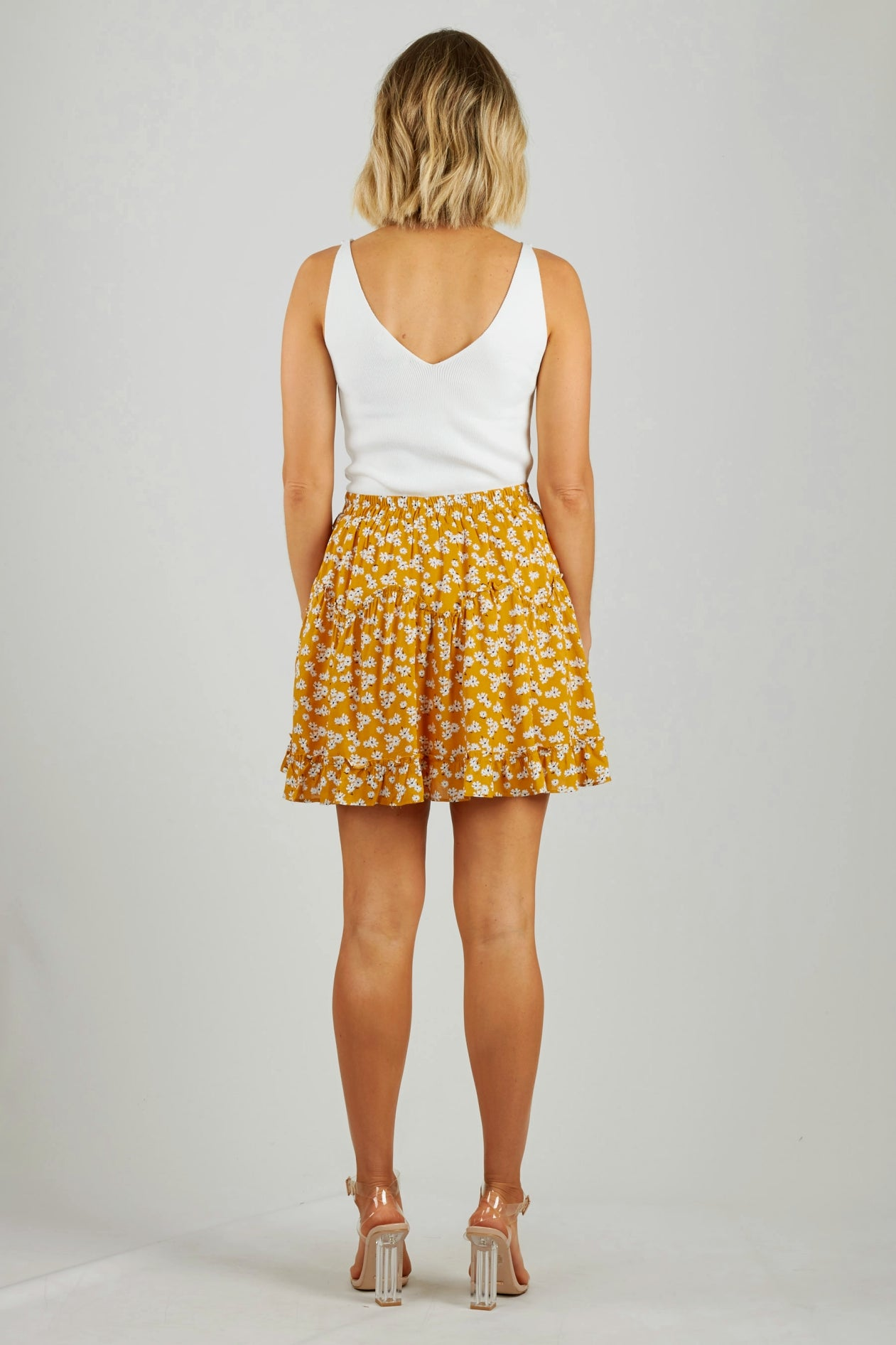 Mustard floral mini rara skirt