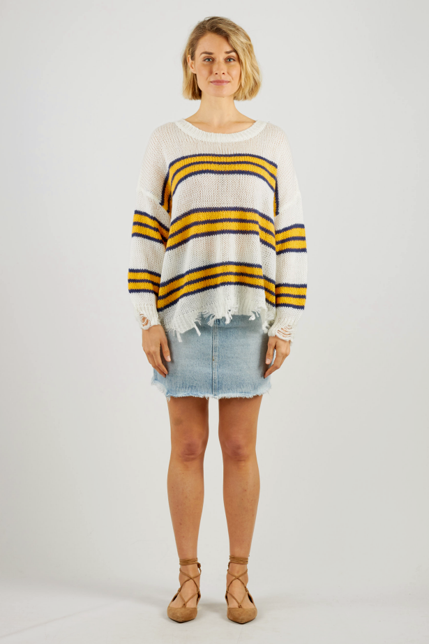 RUBY KNIT- WHT/YELLOW