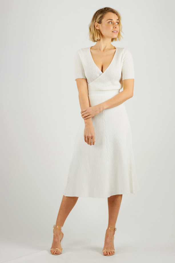 White thick ribbed knit midi skirt