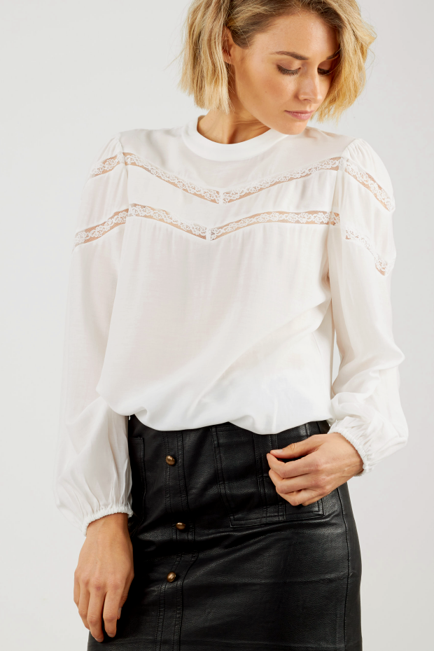 White long sleeve blouse with lace panels and puffed sleeves