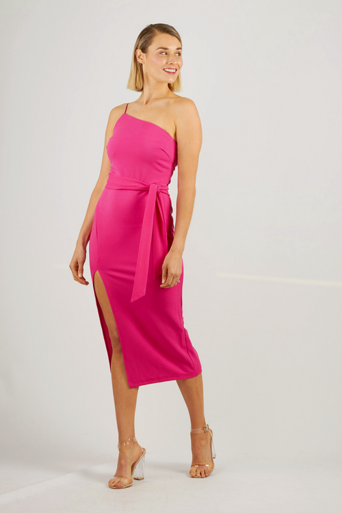 Fuschia asymmetrical midi dress with side split