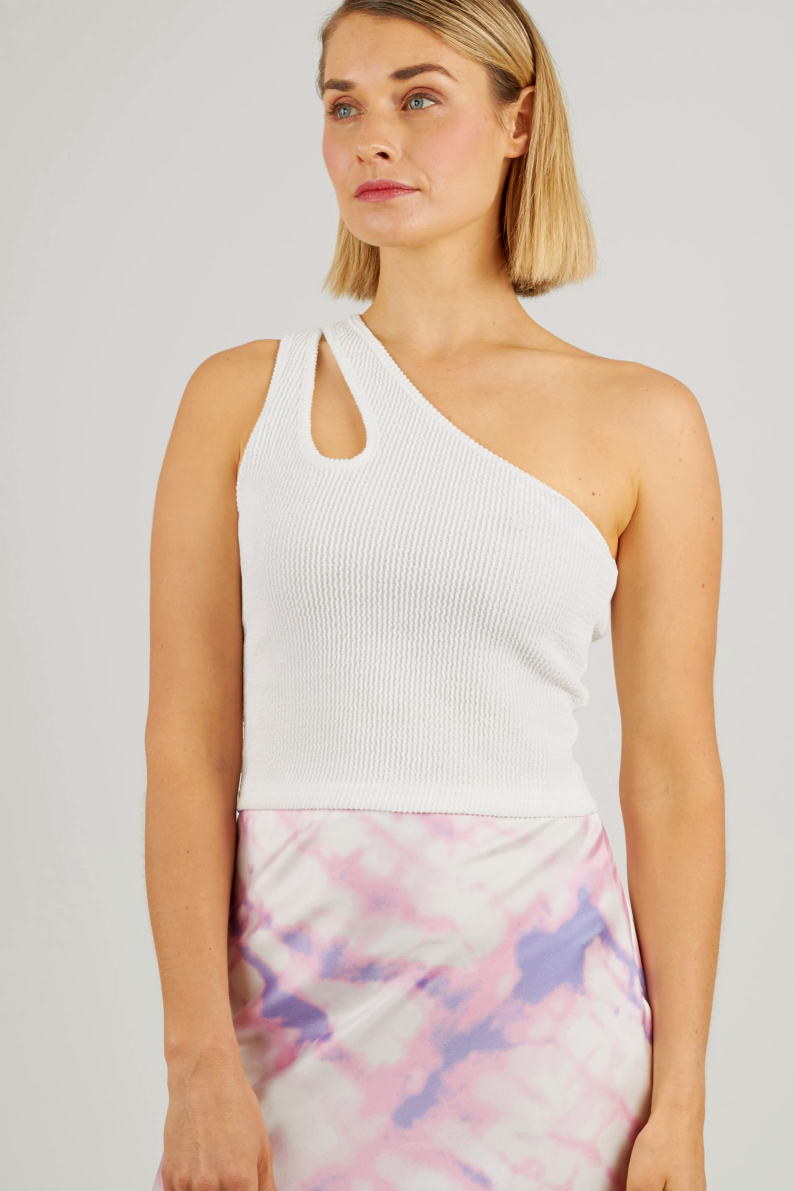 White asymmetrical top with cut out detail on shoulders