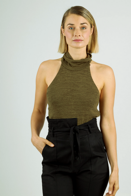 Khaki high neck halter style sleeveless knit top