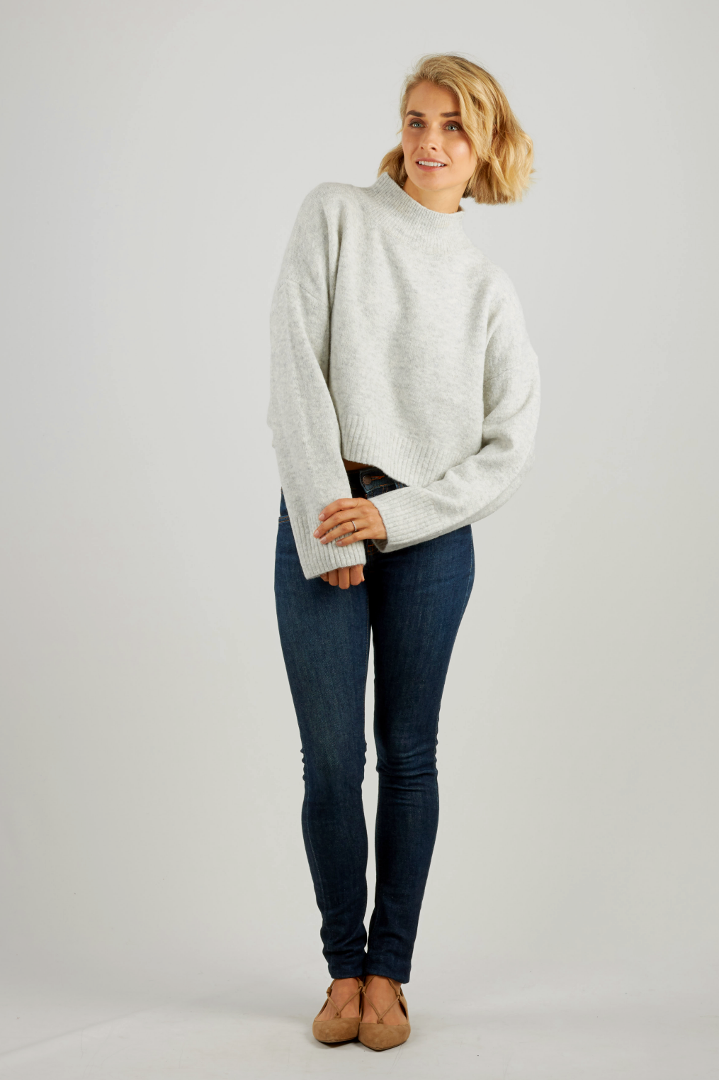 Light grey high neck cropped knit jumper