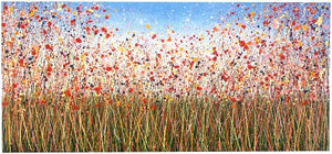 Really Big Red Poppy Flower Meadow on 8' Canvas