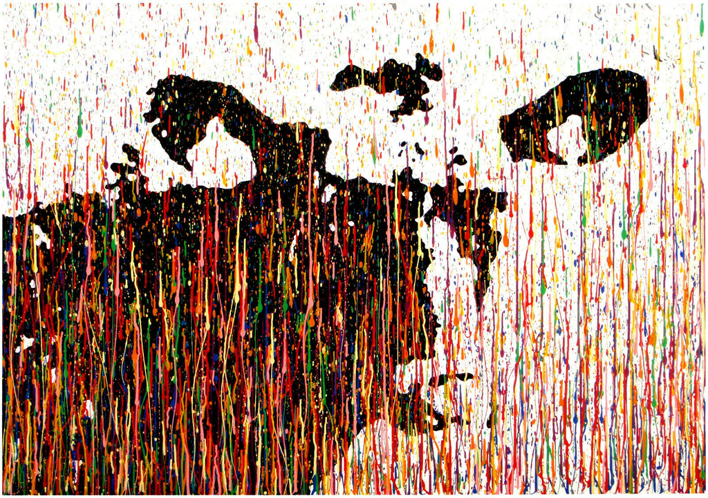 New Cow Portrait Painting in Vertical Drip and Splash Style