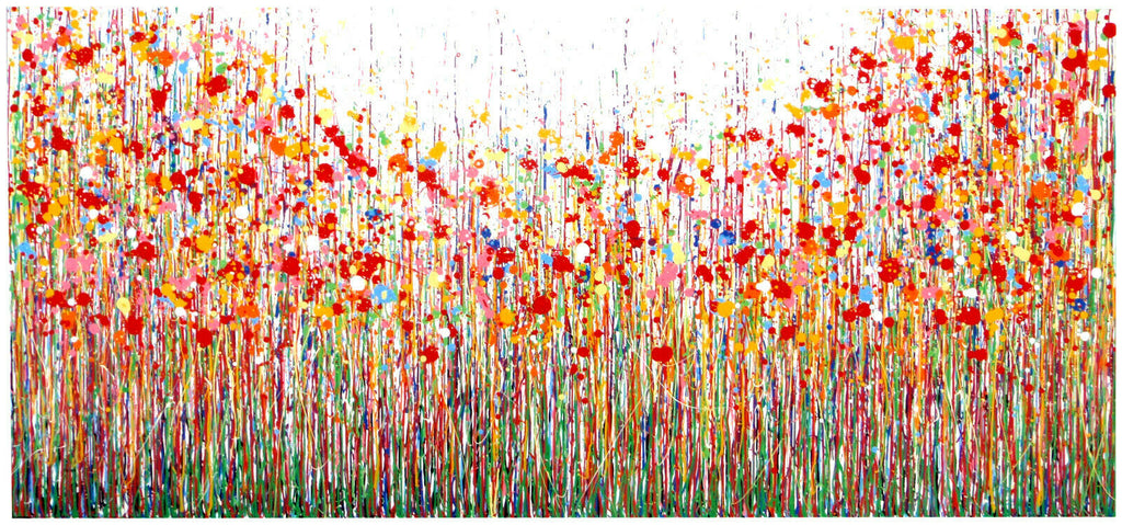 New Extra Large Vertical Drip Flower Painting