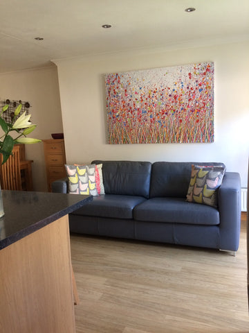 Abstract flower meadow painting in customers house