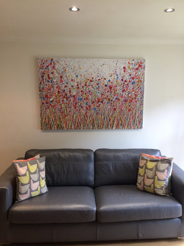 Abstract flower meadow painting in customers house 2