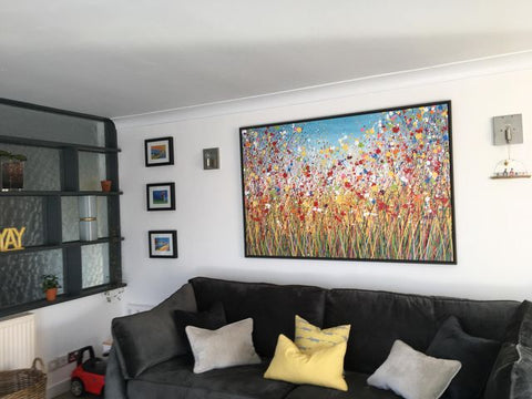 Customer photo showing my abstract original flower meadow painting on display in her home 2