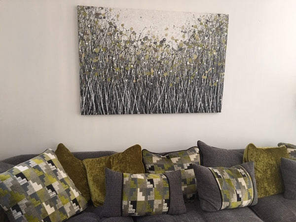 Commissioned large abstract flower meadow painting on display in customers home