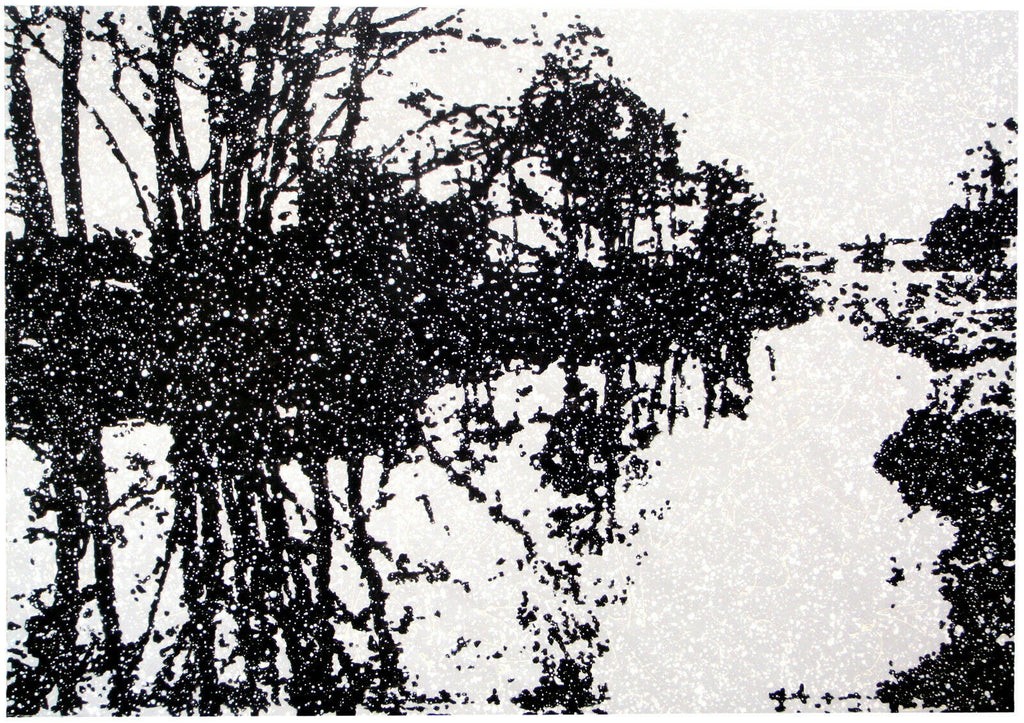 Black and white large abstract river landscape painting by Rich Gane