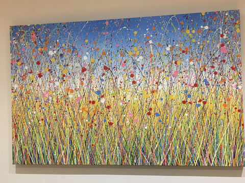 Colourful mixed flower abstract landscape painting on very large canvas