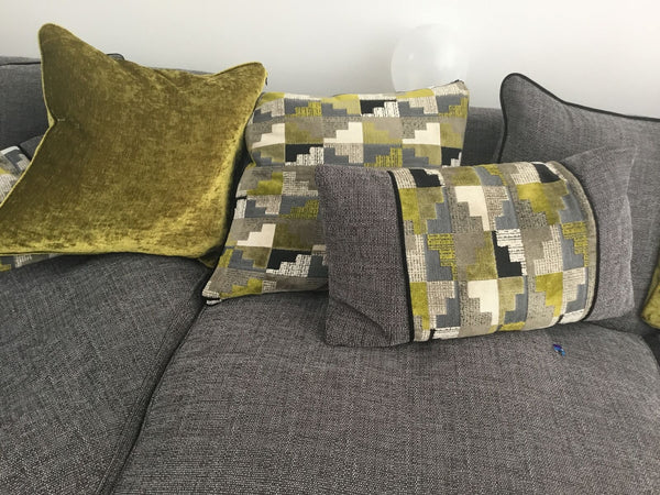 Customer photo showing cushions and sofa in room and colour scheme