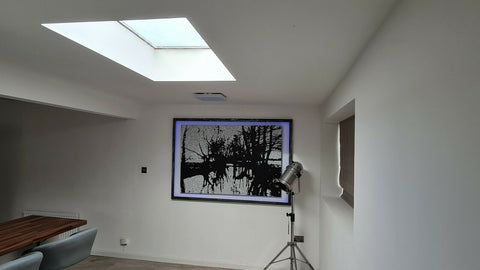 My large black and white abstract landscape painting on display in my customers house extension 1