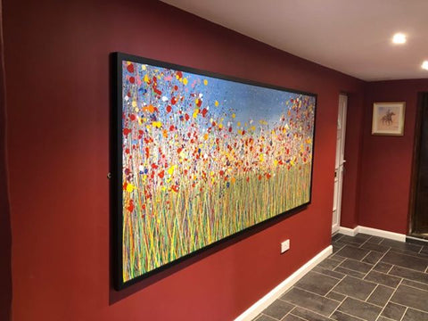 Customer photo of my extra large flower meadow painting in a contemporary black picture frame 2