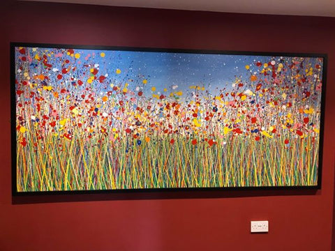 Customer photo of my extra large flower meadow painting in a contemporary black picture frame 1 1