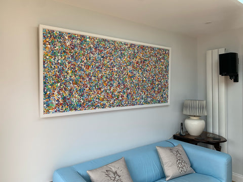 Customer photo showing my original really large dot and spot canvas painting on display in her home
