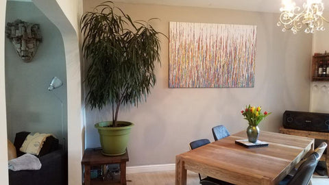 Customer showcase photo of my original large drip painting in custom colours now on display in his home 2