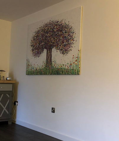 Customer photo showing my large abstract tree painting on canvas on display in her home