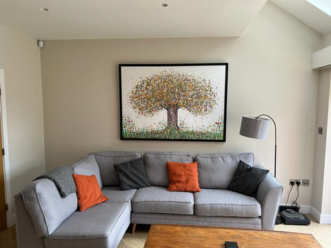 Customer showcase photo of my very large abstract tree painting on display in his home