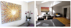 Two customer showcase photos of my large abstract paintings