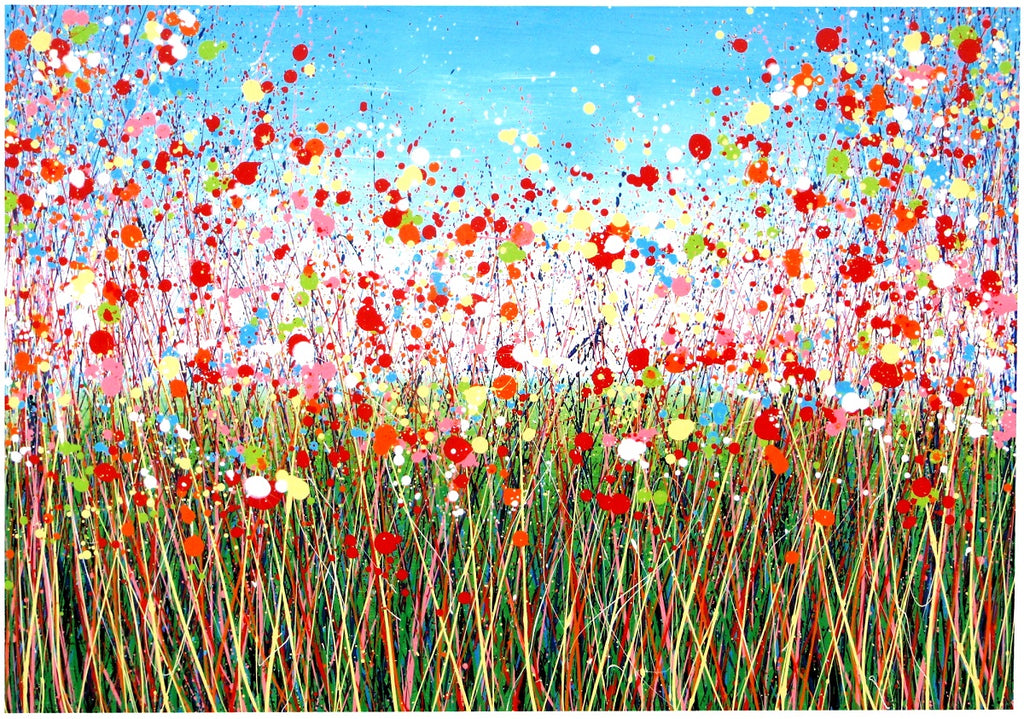 CLICK TO ENLARGE - Very Large Abstract Red Flower Meadow Painting on Canvas