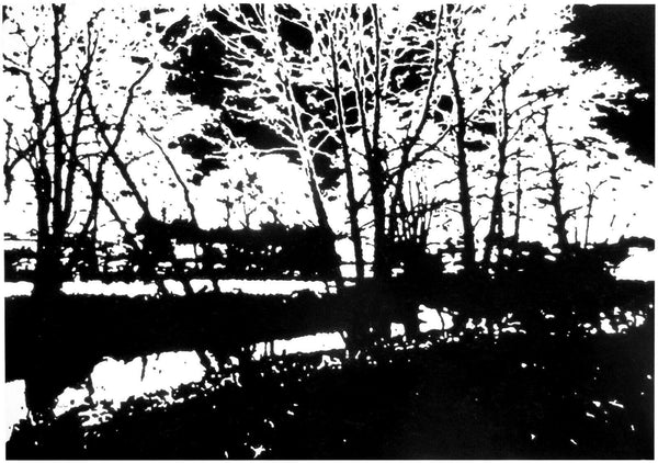 Large abstract art black and white river landscape painting on canvas
