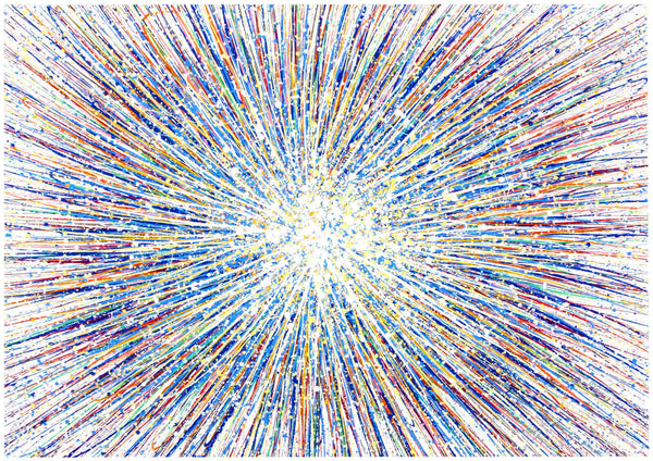 Large abstract art original blue star painting on canvas by Rich Gane