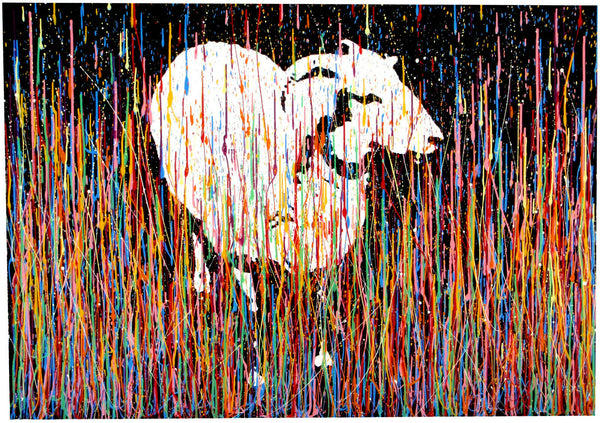 Large abstract art original sheep portrait drip painting on canvas
