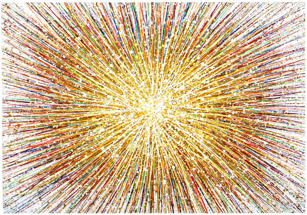 Large abstract art original gold star painting on canvas by Rich Gane